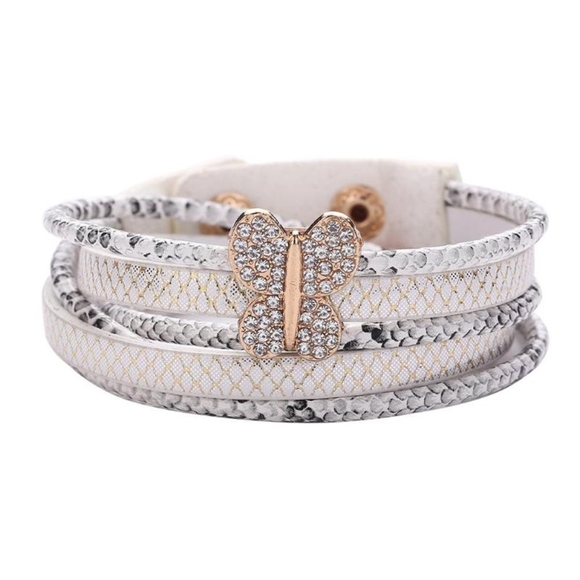 Jewelry - White Serpent Snake Leather Layered Wrap Bracelet